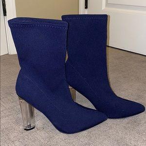 Navy Blue Clear Heel Booties